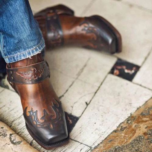 Men's Retro Cowboy Ankle Boots