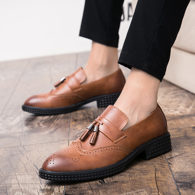 Male Vintage Carved Brogue Flats Loafers