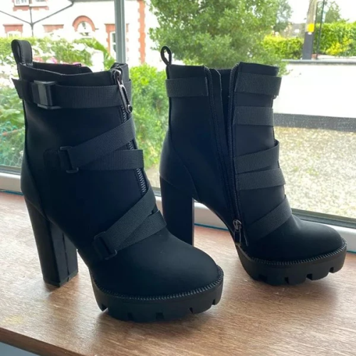 Strapped Platform High Heel Boots