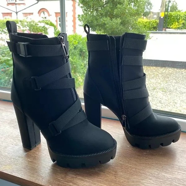 Strapped Platform High Heel Boots