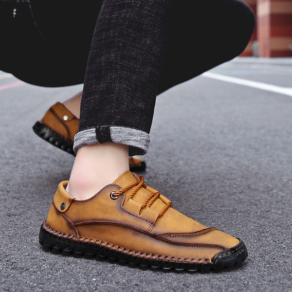 Men's Stitching Hand-sewn Flat Shoes