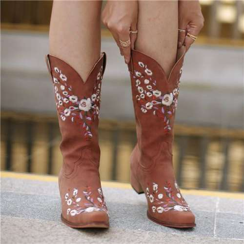 Artificial Leather Floral Embroidered Boots