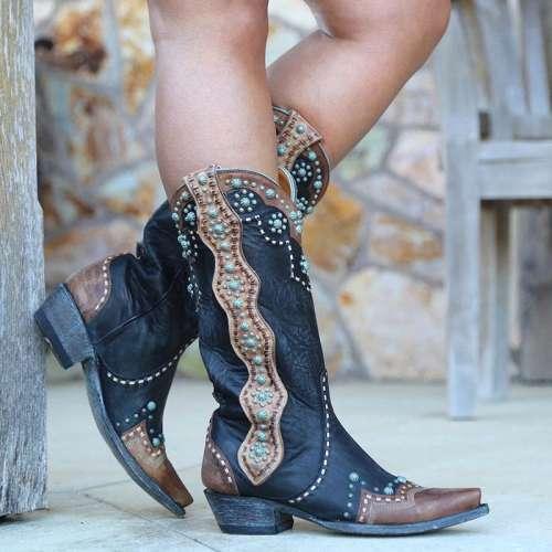Square Toe Color Block Slip-On Casual Boots