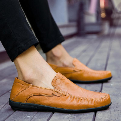 Men's Genuine Leather Loafers Moccasins Comfy Breathable Slip On Boat Shoes