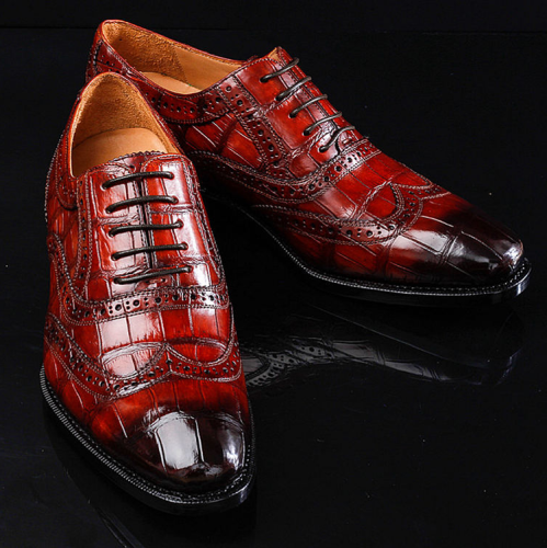 Alligator Brogue Wingtip Dress Shoes