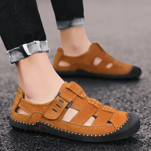 Men's Cow Leather Hook Loop Sandals
