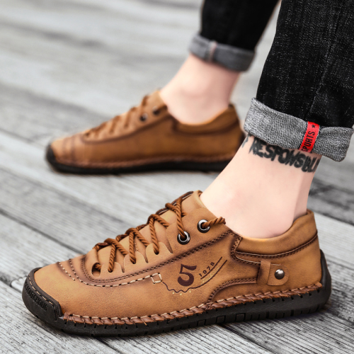 Men Microfiber Leather Hand Stitching Comfort Soft Casual Loafers