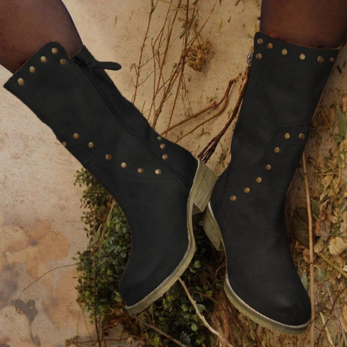 Women's Fashion Solid Color Metal Decorative Low Heel Boots
