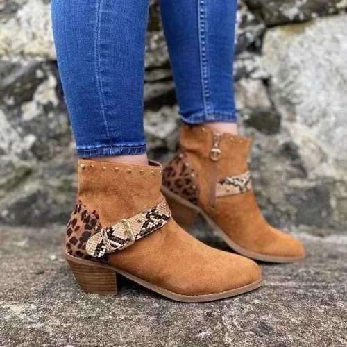 Block Heel Leather Winter Boots