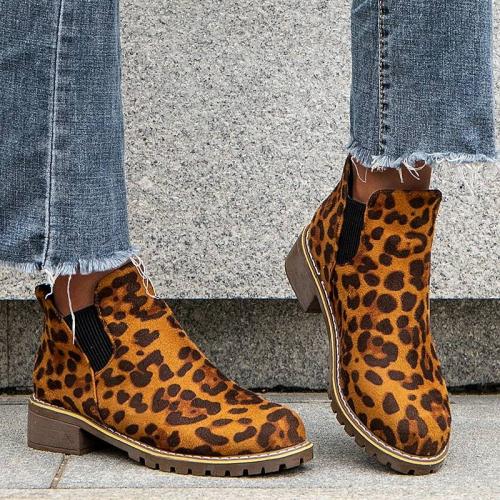 Women Stylish Leopard Slip On Low Heel Boots