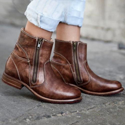 Women's Vintage Double Zipper Booties Pu Zipper Low Heel Boots