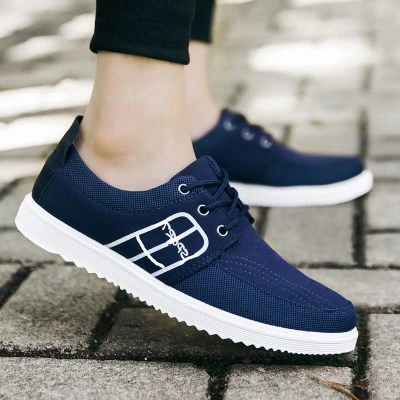 Mens Splicing Canvas Pure Color Lace Up Casual Trainers