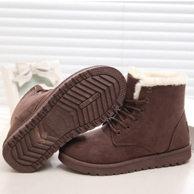 Women's Warm Fur Plush Insole Suede Waterproof Ankle Snow Boots