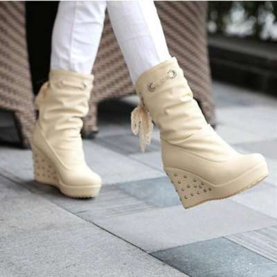 Fashion Wedge Heel Lace High Heel Women's Boots