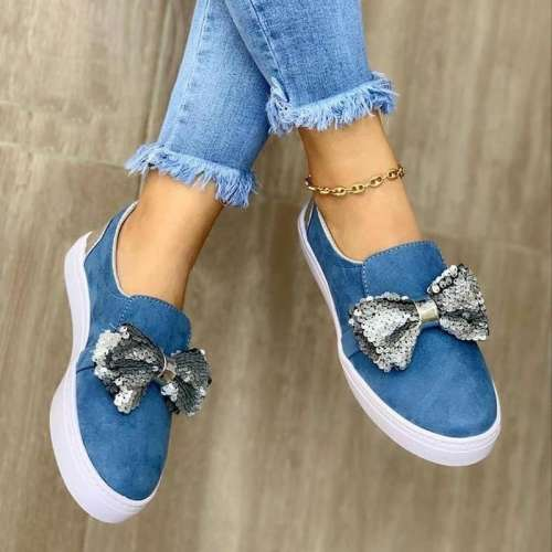 Women Stylish Denim Paillette Bowknot Slip On Loafers