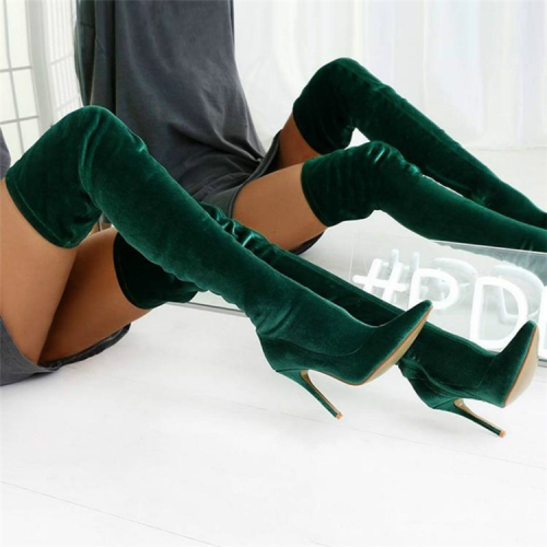 Women's Over The Knee Pointed Elastic High-heeled Frosted High Boots