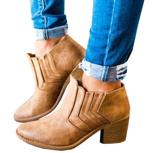 *Women Large Size Booties Casual PU Chunky Heel Shoes