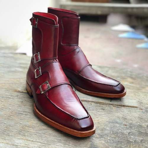 Handmade Men's Burgundy Colour Quad Monk Strap Boots