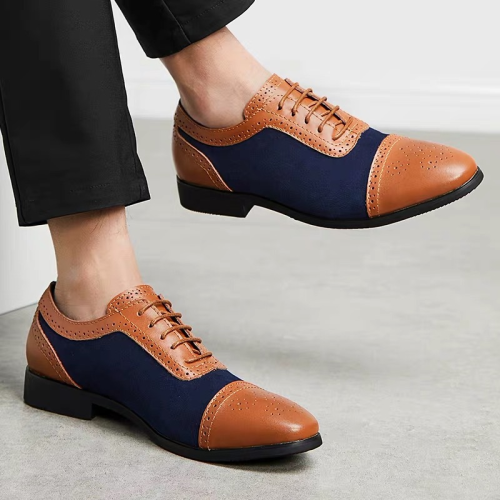 Low-Cut Upper Lace-Up Patchwork Men's Dress Shoes