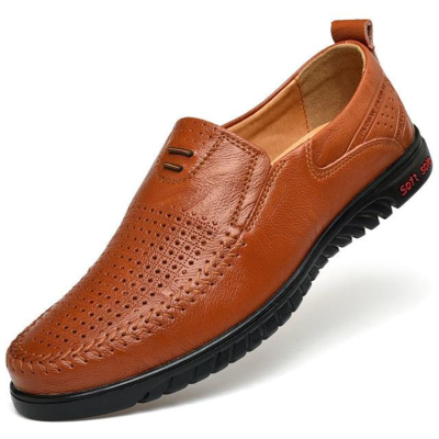 New Openwork Loafer Perforated Leather Flats Driving Business Men's Shoes