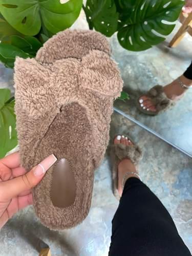 Women Fuzzy Faux Fur Leopard Thongs Slip On Platform Slides Slippers