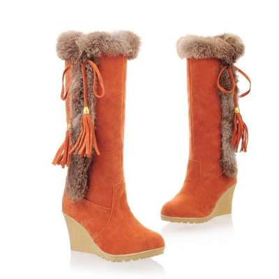 Cotton Fur Keeps Warm Over Knee Boots