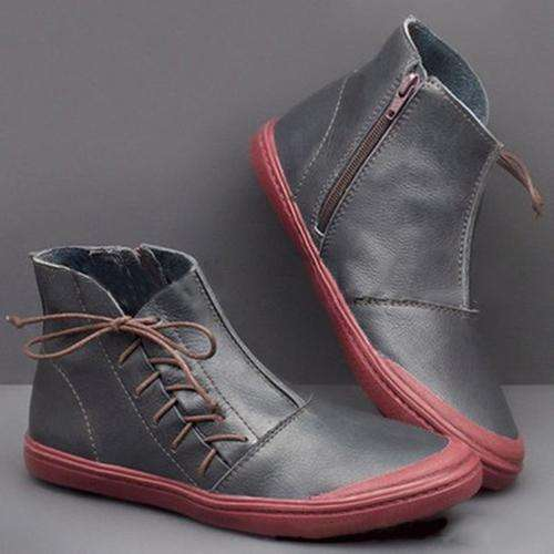 Flat Heel Lace Up Boots