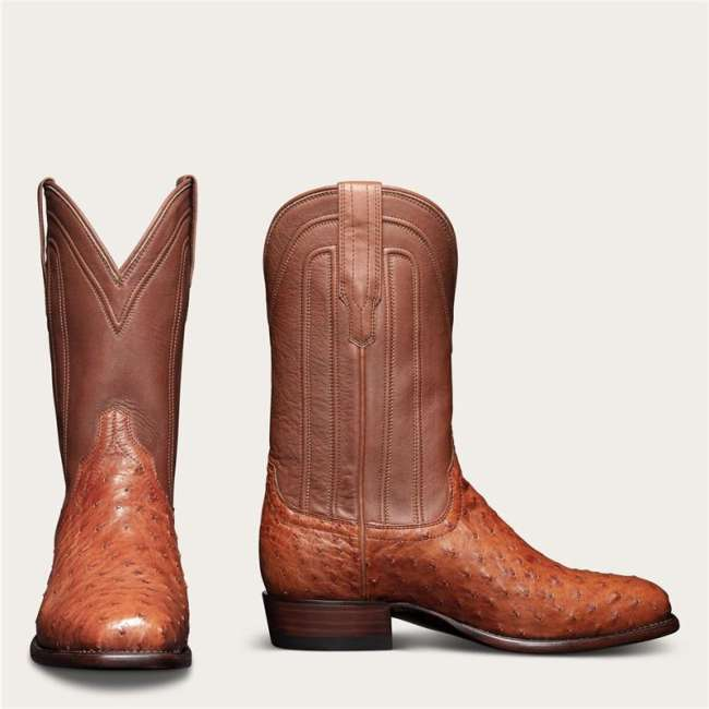 Men's Square Toe Cowboy Boots - Ostrich Leather Boot