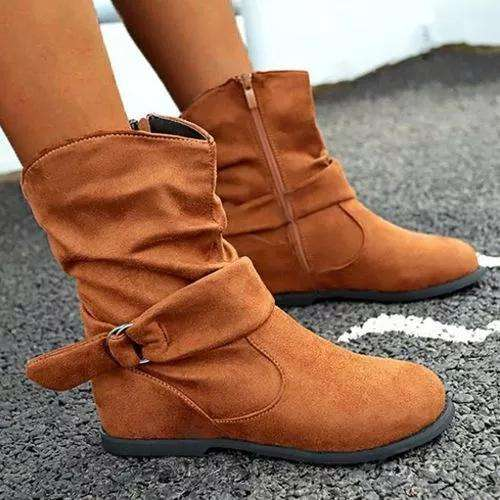 Women's Buckle Zipper Ankle Boots Closed Toe Flat Heel Boots