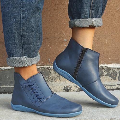 Plain Flat With Side Zipper Western Boots