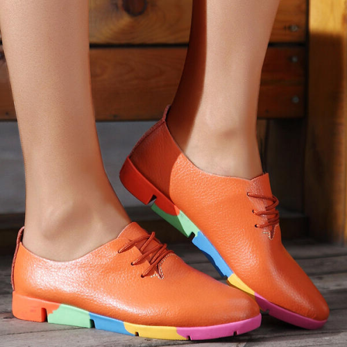 Women's Leatherette Flat Heel Flats With Lace-up Splice Color shoes