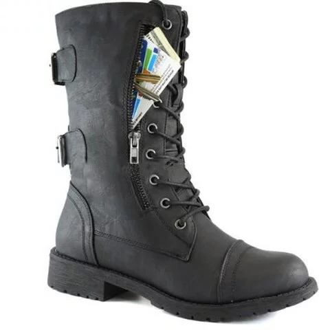 Women Lace up Mid Calf Hide Credit Card Knife Money Wallet Pocket Boots