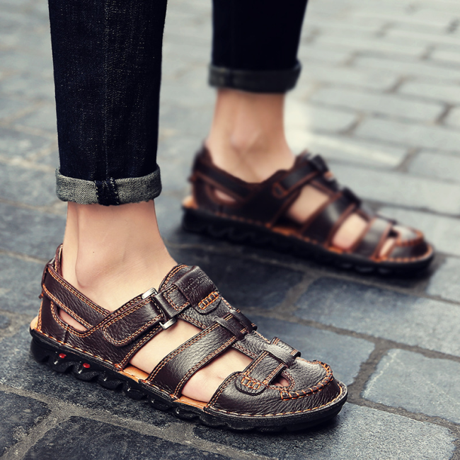 Men Genuine Leather Hand Stitching Non Slip Large Size Casual Sandals