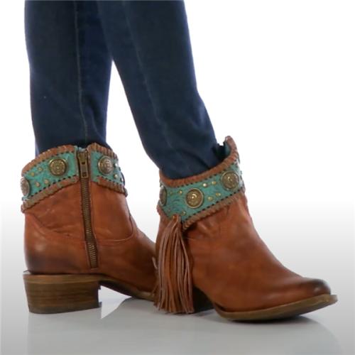 Women Vintage Side Zipper Tassel Ankle Boots