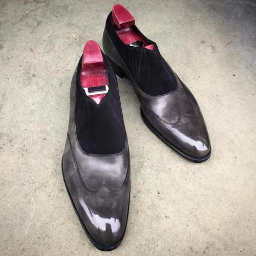 Men's Vintage Chestnut Calf Skin Suede Dress Shoes