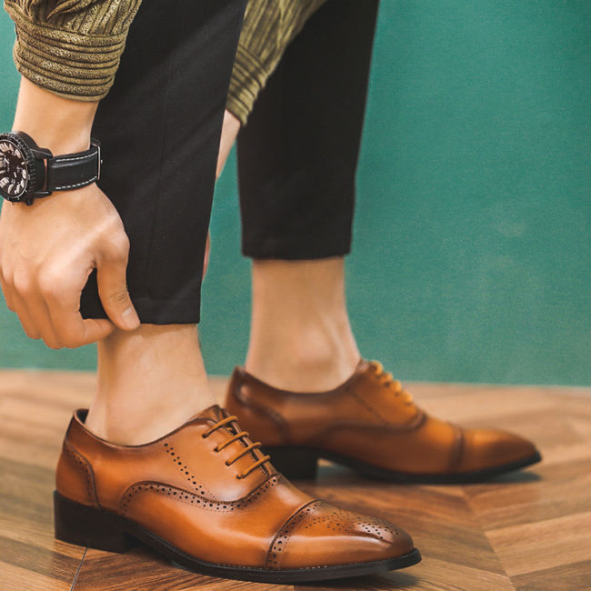 Men Brogue Microfiber Leather Business Casual Dress Shoes