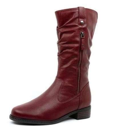 Women Large Size Mid Calf Zipper Chunky Heel Riding Boots