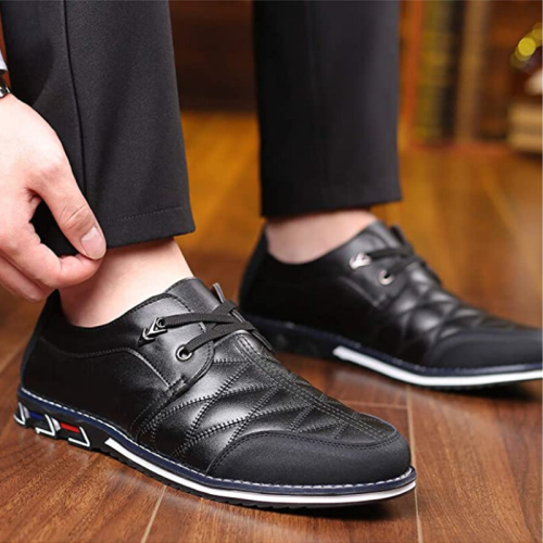 Large Size Men Artificial Leather Soft Lace Up Comfy Casual Shoes