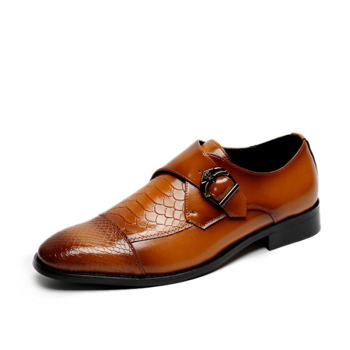 Men Business Metal Buckle Non Slip Soft Leather Dress Shoes