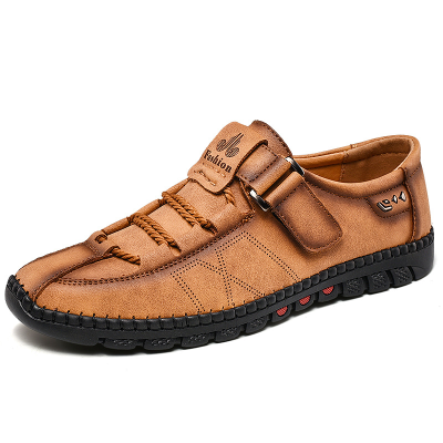 Men's Lace-up Leather Buckle Matte Flat Shoes