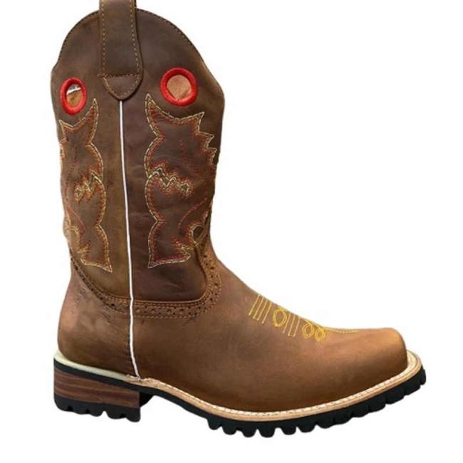 Men Western Cowboy Biker Boots Vintage Mid Calf Boots