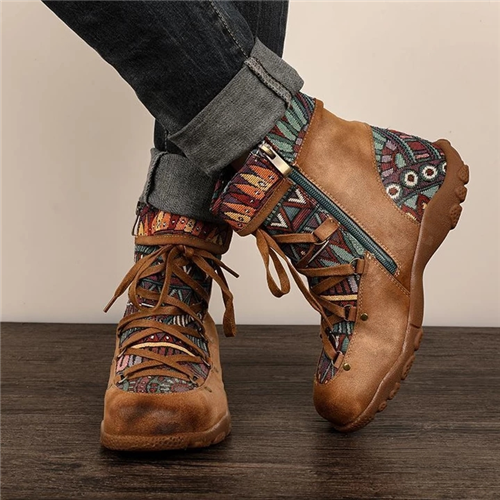 Retro Casual Splicing Jacquard Lace Up  Comfy Flat Boots