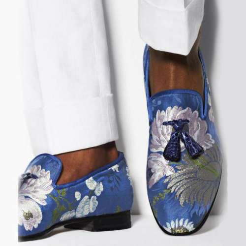 Men's Flower Pattern Silk Loafers