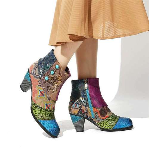Retro Fashion Hand Stitched Jacquard Short Boots
