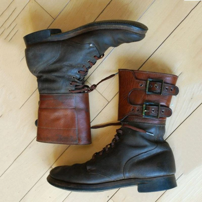 Mens Buckle Army High Boots