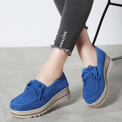 Women's Platform Shoes Suede Cow Leather Loafers