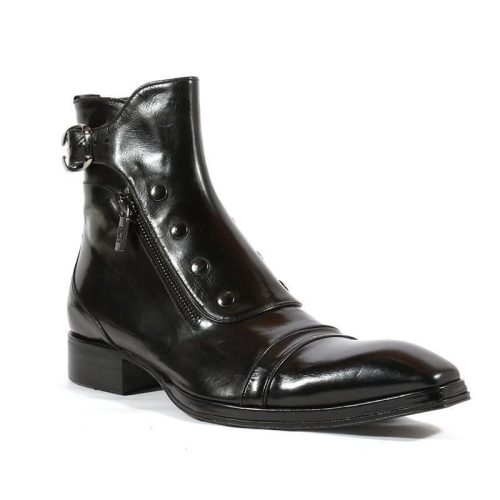 Men's Gentlemen Button Zipper PU Leather Ankle Boots