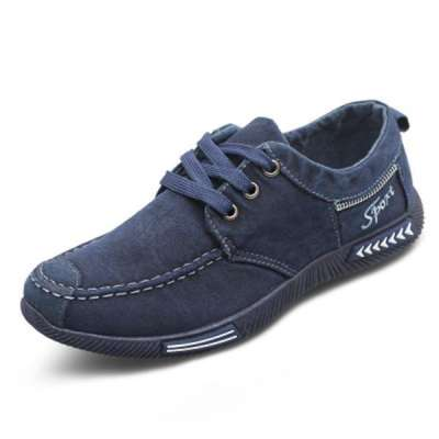 Men's Canvas Breathable Lace Up Casual Driving Shoes