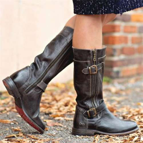 Women's Gogo Lug Black Rustic Wide Calf Boots