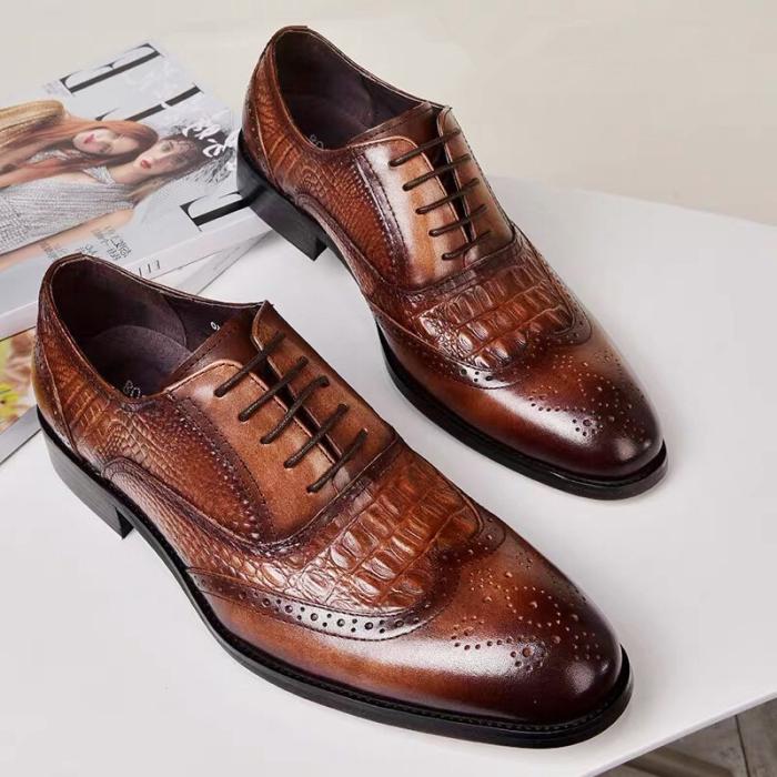 Men Crocodile Embossing PU Leather Non Slip Retro Shoes